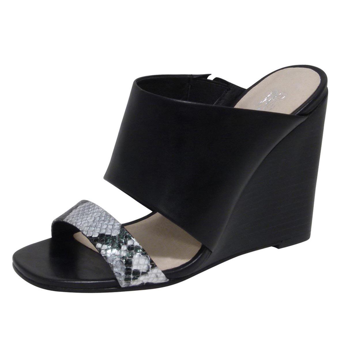 Andrew Stevens Women's Geneva Leather Wedge Sandal B00V3LLS60 5.5 B(M) US|Black