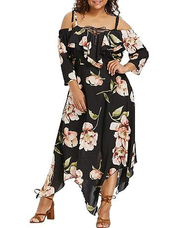 Vestido Playa de Honda Floral Estampado Yesmile ❤ Moda Mujer Fuera del Hombro Talla Extra