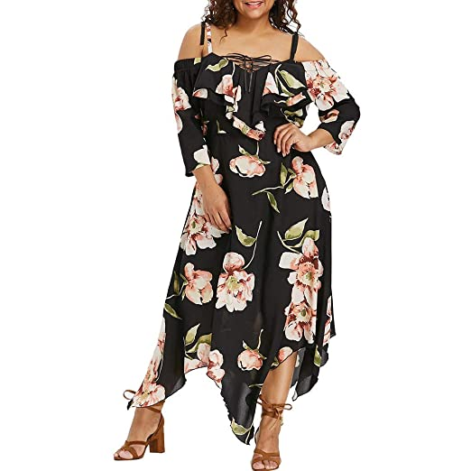 Kshion Women\'s Dress Off Shoulder Plus Size Lace Up Maxi Strap Irregular  Print Dress Ladies Summer Dress (Black, 4XL)