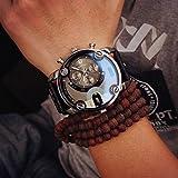 Eenkula Hommes Grand Cadran Quartz Analogique Calendrier Montre DéContracté Affichage Montre-Bracelet Faux Cuir