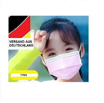 10, Wei/ß Mundschutz f/ür Kinder 3-Lagig mit Nasenb/ügel