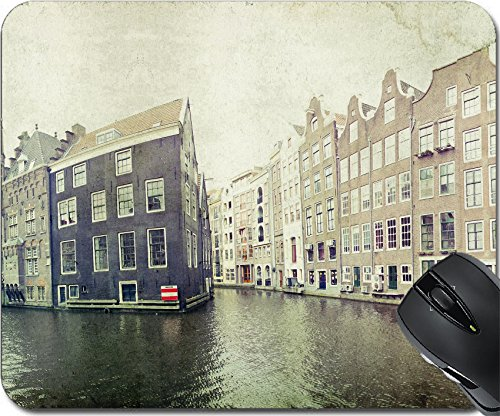 255 Brick - MSD Natural Rubber Mouse Pad Mouse Pads/Mat design 19881438 Vintage photo of traditional dutch buildings in Amsterdam