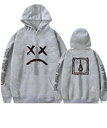 5bd5c1a07d21f Men Hoodie Rapper Sad Face Sweatshirt Pullover Jacket Boy Jumper (Grey