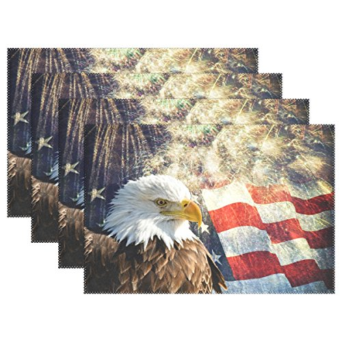 ALAZA Placemats Set of 6,Eagle with American Flag and Fireworks Washable Table Mat for Kitchen Dining Table 12 X 18 Inch Place Mats…