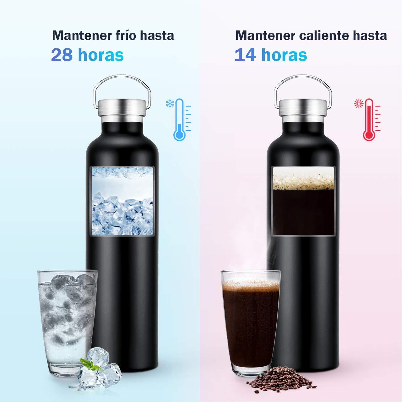 OMORC Botella Agua Acero Inoxidable, Aislada al Vacío de Conserva Frío Doble Pared, Resistencia al Rayado, sin BPA Botella Agua Deporte, para ...