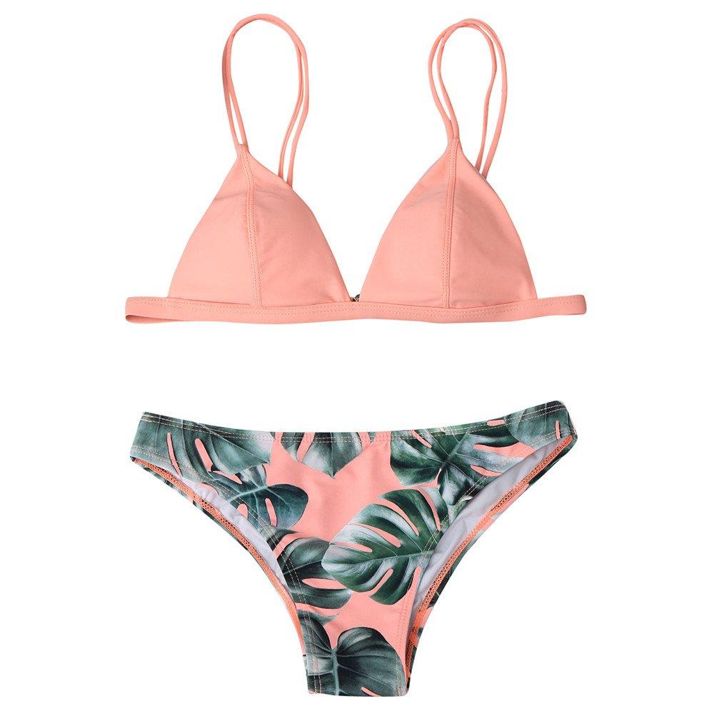 Oasisocean Women's Brazilian Bathing Suit Adjustable Spaghetti Strap Palm Leaf Print 2Pcs Bikini Set Swimsuit Swimwear Pink