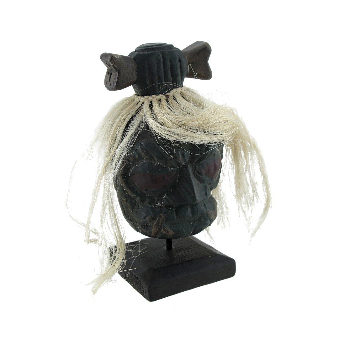 Things2Die4 Mounted Shrunken Head with White Hair and Bone Hair-Bow Statue by Things2Die4
