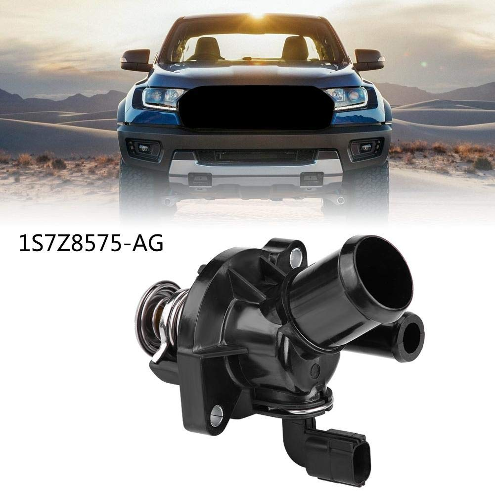 Terisass Thermostat 1S7Z8575-AG Car Engine Coolant Thermostat with Housing Assembly for Ford Focus Ranger Mazda B2300 1122497 1119280 1217827 1135768 1302261 1358178 1S7G8575AF 1S7G8575AH 1S7G8575AJ