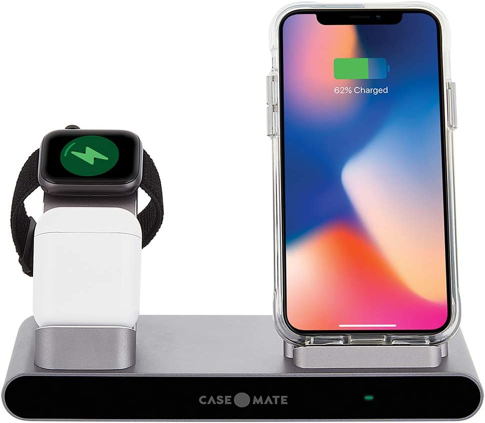 Case-Mate - Power PAD PRO - 3-in-1 Wireless Charger - Space Gray - Charges All Qi Enabled Devices - Universal