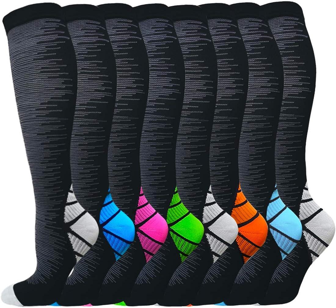 Sooverki 6/8 Pack Compression Socks (15-20mmHg) for Women & Men - Best Medical,Running,Travel,Nurse Socks