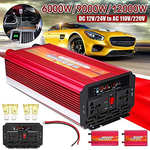 Hurricane Storm and Outage Uion 1PCS 12000W//9000W//6000W Car RV Power Inverter DC 12V to 110V //220V Home Car RV Solar Power Converter for Household Appliances for Emergency