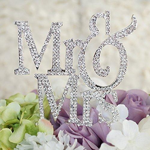 (Mr & Mrs Monogram Cake Toppers Crystal Wedding Cake Topper Bling (Silver Silhouette))