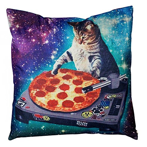 Decorative Throw Pillow Covers New Top Funny Space Cat and Pizza Rectangle Non-Slip Rubber Mouse Pad Mousepad Mat Couch Pillows Cover 18 x 18 Inch