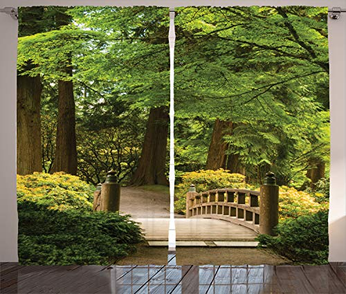 Ambesonne Japanese Decor Curtains, Wooden Bridge Over A Pond in Garden Calmness in Shadow of Trees Serenity in Nature, Living Room Bedroom Decor, 2 Panel Set, 108 W X 84 ()