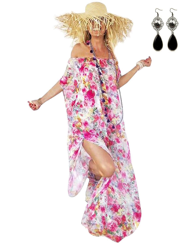 PIPIHU Damen Strandkleid Boho Sommer Schulterfrei Strandponcho Strandurlaub Badeanzug Bikini Cover Up Maxi