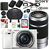Sony Alpha a6000 24MP Mirrorless Camera 16-50mm & 55-210mm Zoom Lens + 64GB Accessory Bundle + Deluxe Gadget Bag + Extra Battery+Wide Angle Lens+2x Telephoto Lens (Executive Accessory Kit, White)