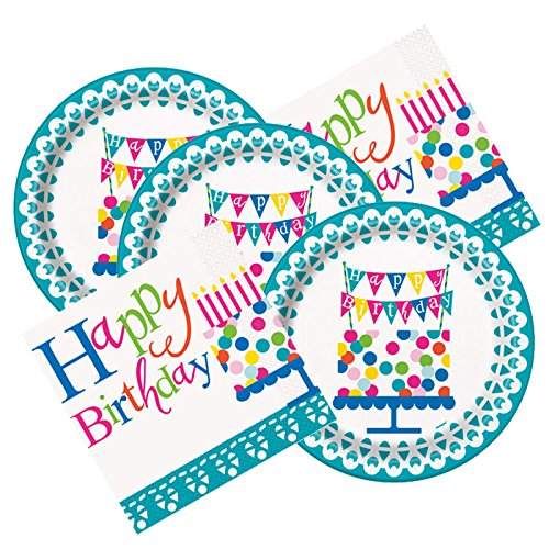 Confeitti Cake Themed Birthday Party Plates & Napkins Serves 16