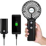 ELZO Mini Ventilador de Mano Silencioso Mini Ventilador Port/átil con Ventilador Recargable USB de 5200mAh Incorporado para Viajar al Aire Libre de la Oficina del Sitio al Aire Libre Negro