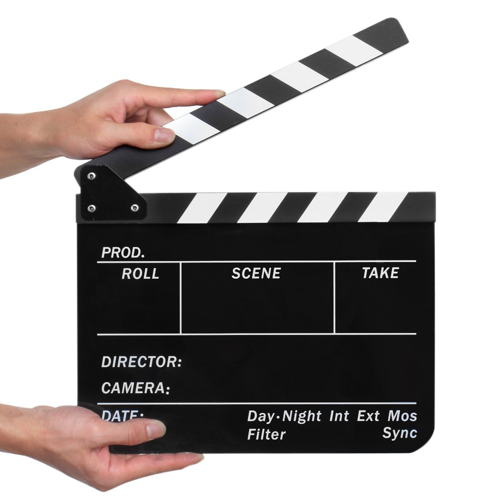 Flexzion Acrylic Plastic Clapboard Director's Clapper Board Dry Erase Cut Action Scene Slateboard For Hollywood Camera Film Studio Home Movie Video 10x12 with Black/White Sticks