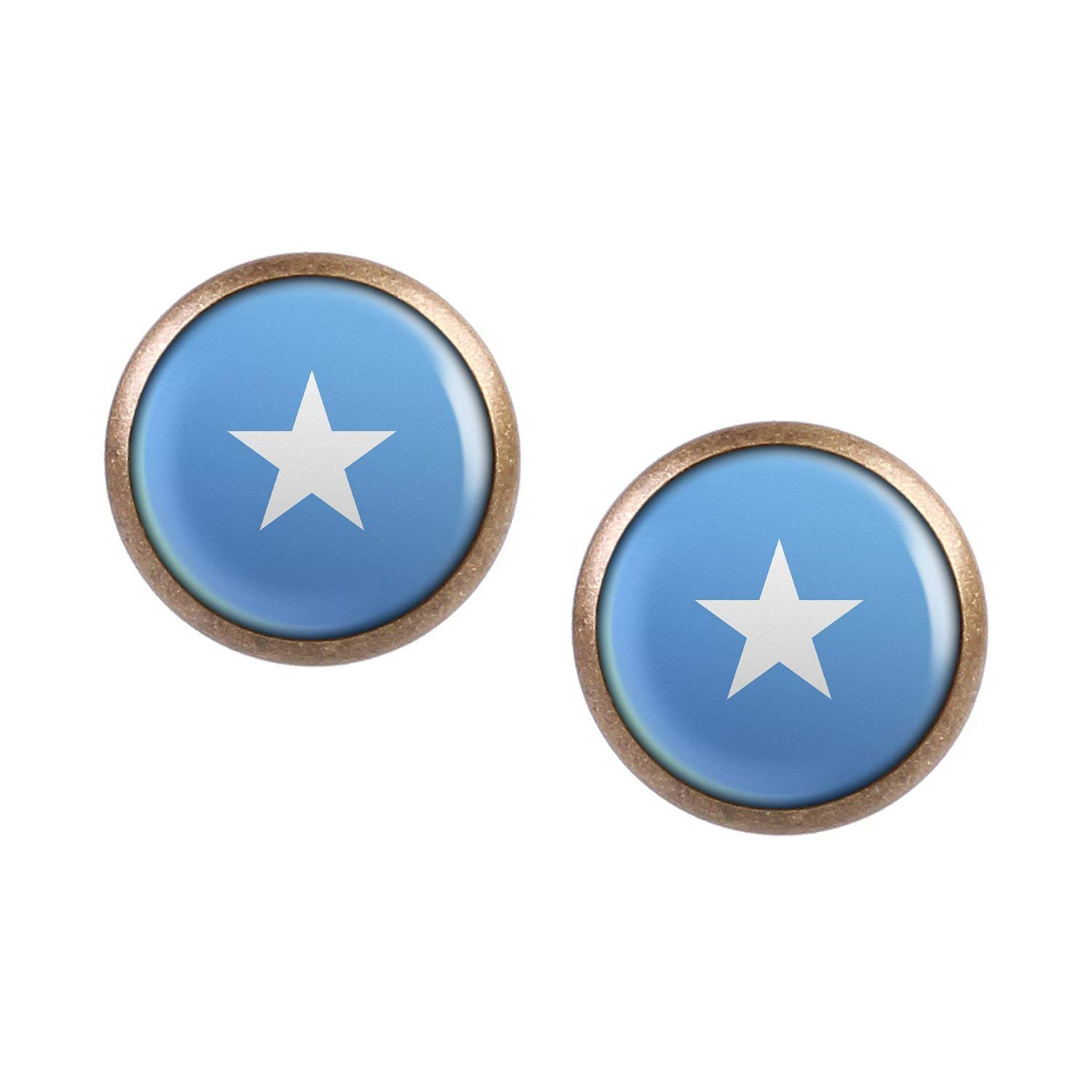 Stud Earring Pair with Cabochon Picture Somalia Mogadishu Flag bronze different sizes