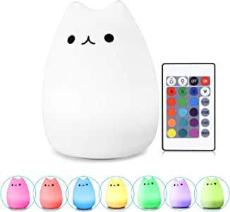WoneNice Silicone Kitty Night Light, Remote Control USB Rechargeable Children Night Light with Warm White & 7-Color Breathing Modes for Kids Toddler Baby Girls