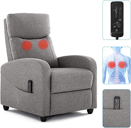 Recliner Chair, Massage Fabric Arm Chair for Living Room Recliner Sofa Winback Single Sofa Home Theater Seating Modern Reading Reclining Chair Easy Lounge with Padded Seat Backrest Gray