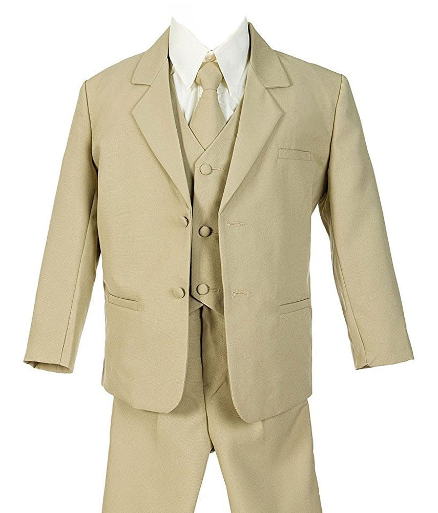 iGirlDress Boys Formal Dress Suit with Shirt and Vest Khaki 7
