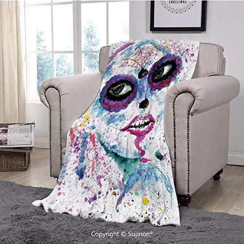 BeeMeng Premium Throw Blanket/Super Soft,Cozy,Lightweight Microfiber,Girls,Grunge Halloween Lady with Sugar Skull Make Up Creepy Dead Face Gothic Woman Artsy,Blue Purple(71