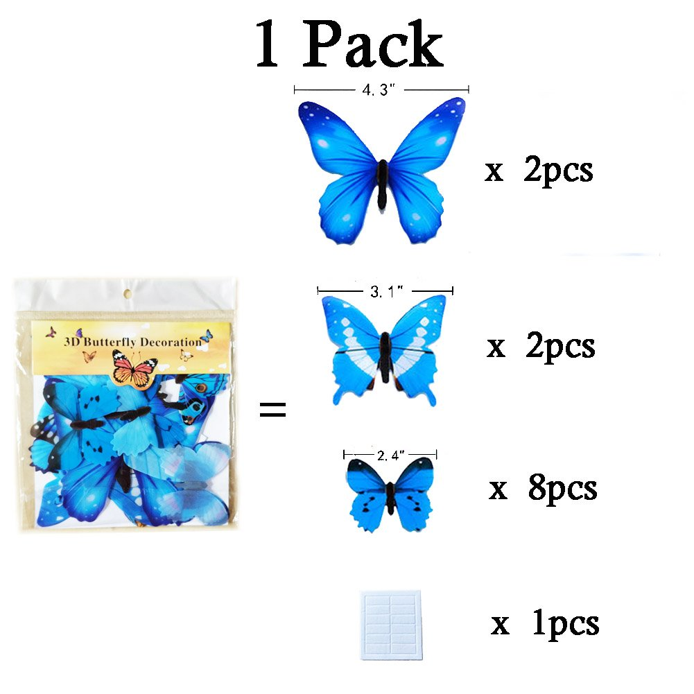 Wall Decals Butterfly 3D Sticker Decor - 72PCS Home Decoration for Living Room, Kids and Teen Girls Removable Mural Wall Art, Baby Nursery Bedroom Bathroom, Waterproof DIY Crafts by Ewong (Image #6)