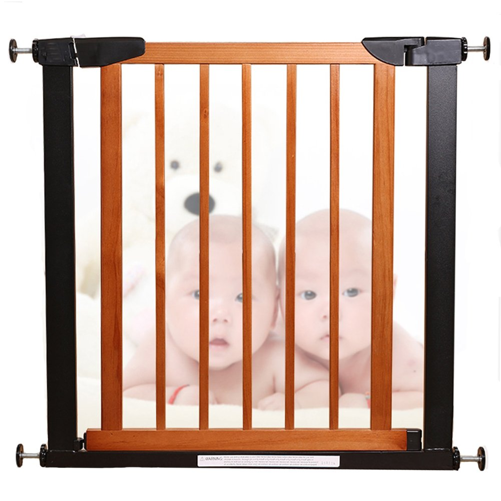 Fairy Baby Pet Baby Gate Narrow Extra Wide for Stairs Metal and Wood Pressure Mounted Safety Walk Through Gate,29 High,Fit Spaces Between 43.31 -46.06 ,Coffee Black 3-7 Days Delivered