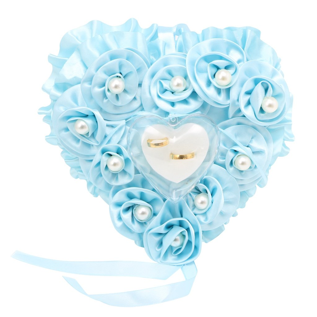 qisuw Lovelyローズパールウェディングリングボックスハートポケットリング枕クッション写真小道具装飾 ブルー HXF1016 B07DLS68S1 ブルー