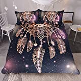 Sleepwish Dreamcatcher Duvet Cover 3 Pcs Purple Black Bedding Set Glitter Bedding for Boho Boys Girls (Queen)