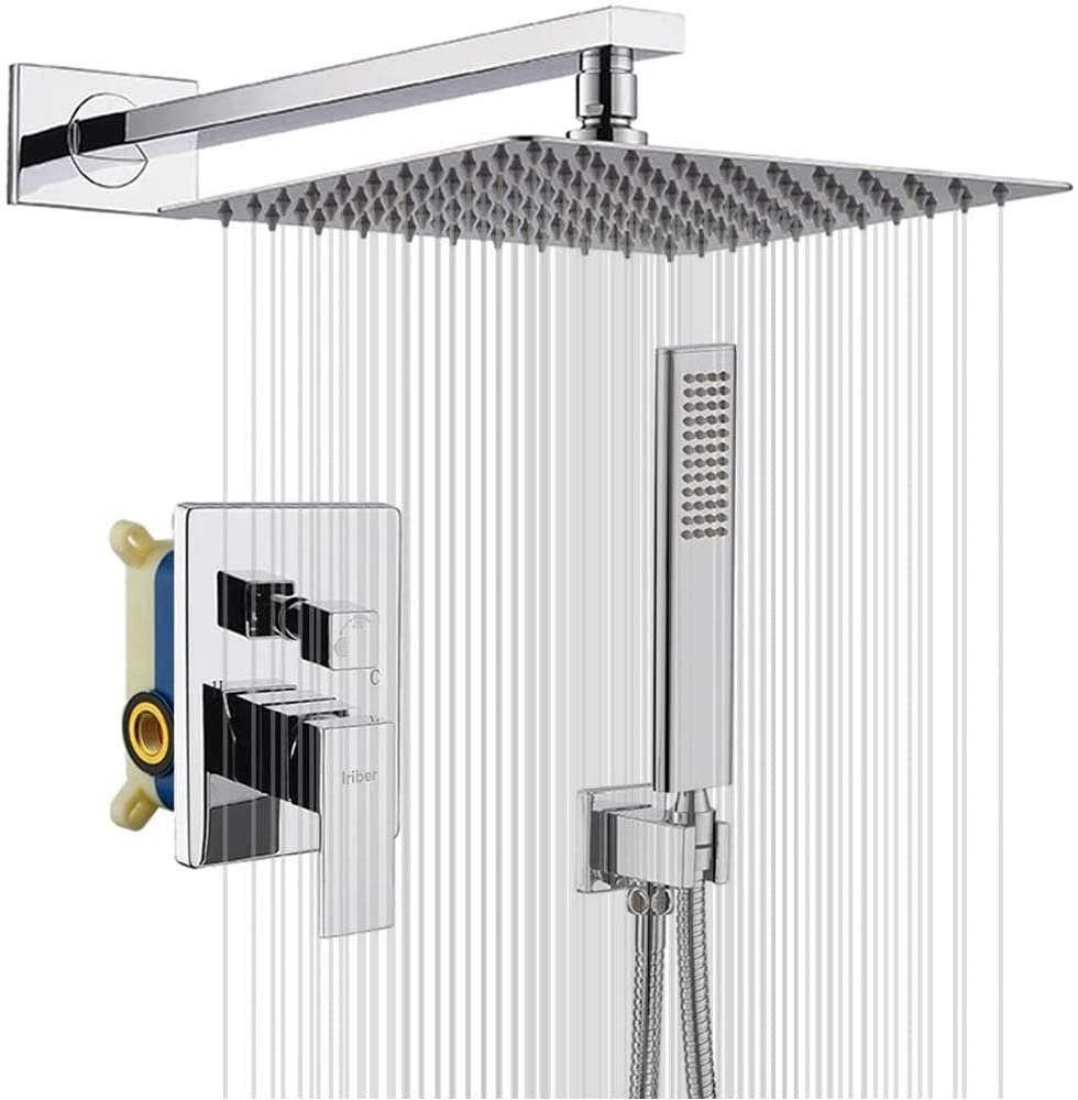IRIBER Rain Shower System with 10 Inch 2mm Ultra Thin Shower Head and Handheld Combo Set, Shower Faucet Mixer Valve Included Modern Rainfall Shower Sets for Bathroom, Chrome Finish