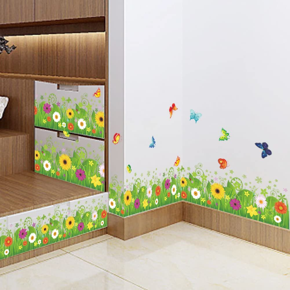 Amaom Removable Beautiful Green Sunflower Flowers Grass with Flying Butterfly Wall Decals Murals Home Art Decor Peel Stick Wall Stickers for Wall Corner Kids Room