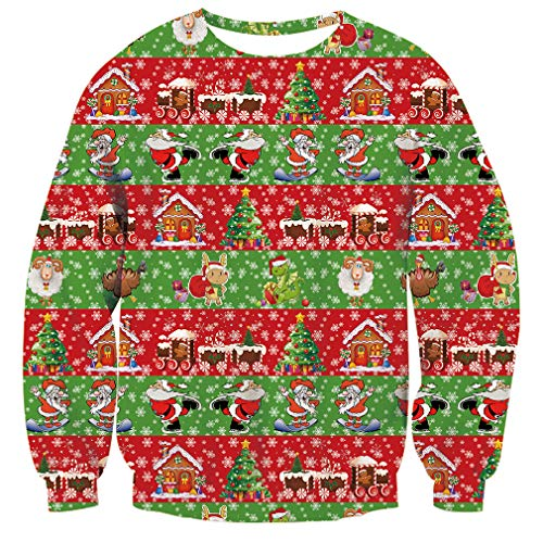 Unisex Ugly Christmas Sweater Xmas Tree Santa Claus Christmas House Snowflake Print Xmas Pullover Sweatshirt for Womens Mens]()