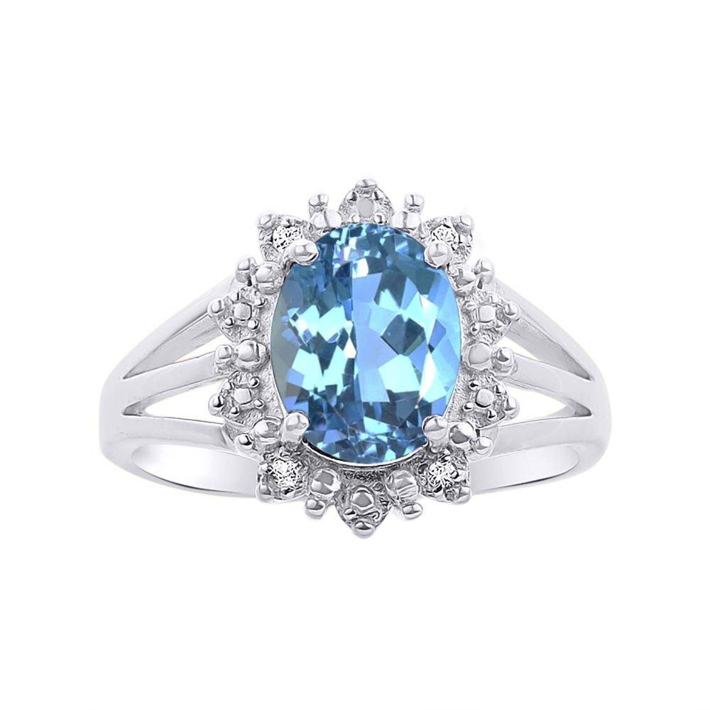 Princess Diana Inspired Halo Diamond & Blue Topaz Ring Set In 14K White Gold