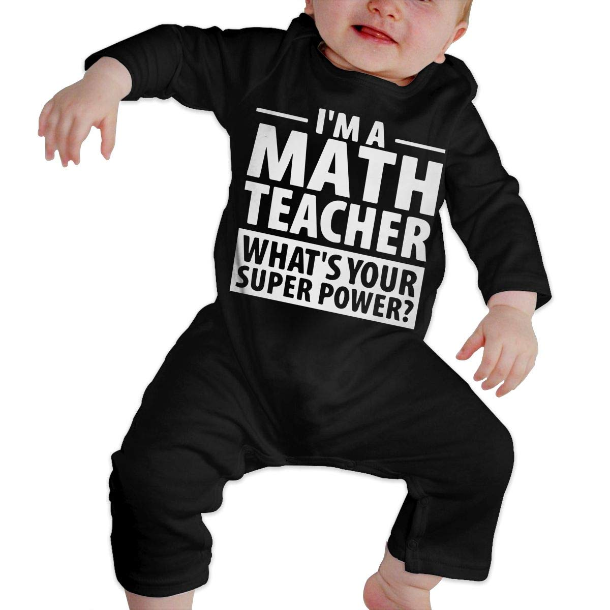Long Sleeve Cotton Bodysuit for Baby Boys and Girls Soft Im A Math Teacher Whats Your Super Power Onesies