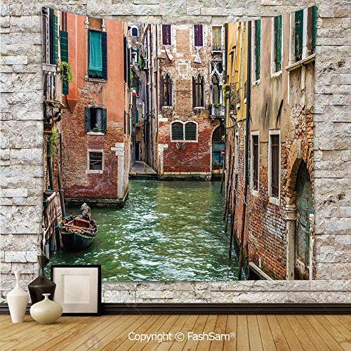 Polyester Tapestry Wall Italian City on Water Historical Landmark Famous Streets Houses Gondolas Europe Decorative Hanging Printed Home Decor(W59xL78) ()