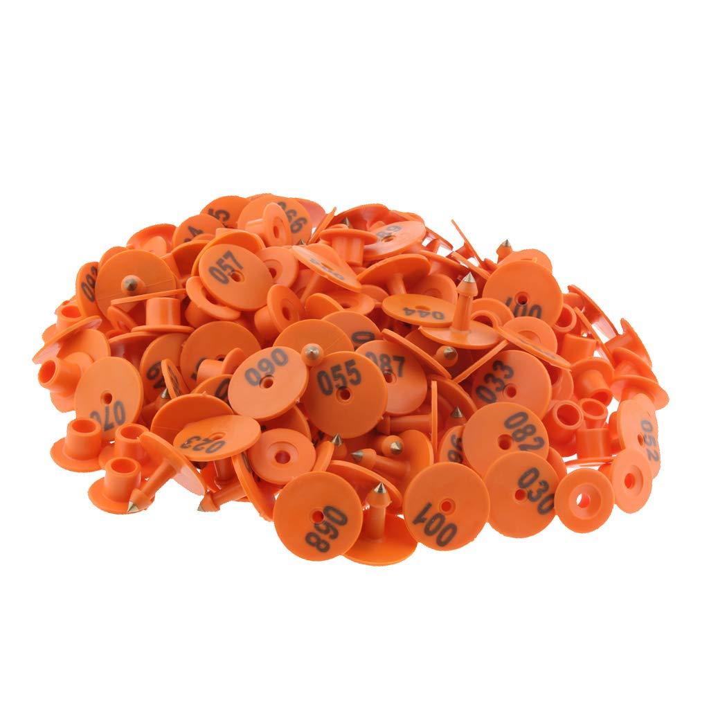 Giallo SM SunniMix 100pz Etichette Orecchio Abbellimenti Bestiame Numerato Maiale Mucca Capra Plastica TPC