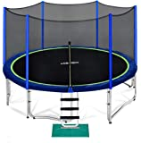 Zupapa 15 14 12 10 FT Trampoline 425 LBS Weight Capacity for Kids with Safety Enclosure Net Outdoor Trampolines with All…
