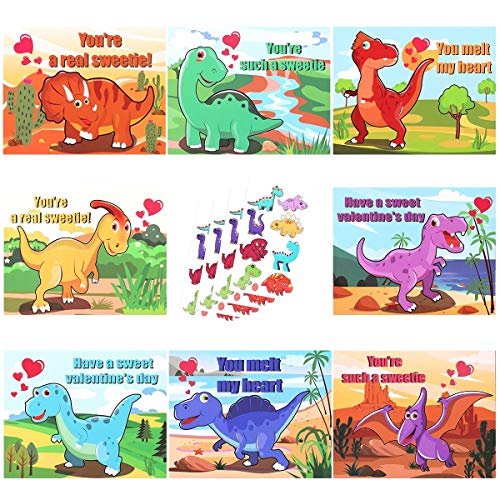 Tattoo Valentines Cards (MAOYUE 32 Pcs Valentines Cards for Kids Valentine Cards 8 Patterns Dinosaur Cards with Temporary Tattoos Scratch and Sniff Scents Valentines Day Cards for Kids, Classroom, Envelopes)