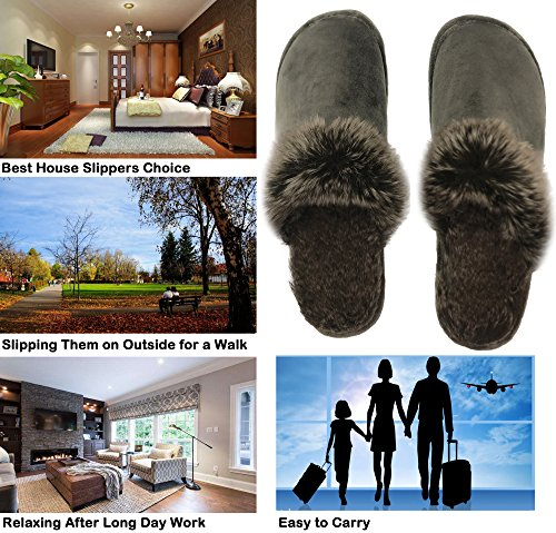 Outdoor Women's House Men's Finoceans Bedroom Brown Winter Fur Faux Indoor Slippers Light Shoes qwn8nETO