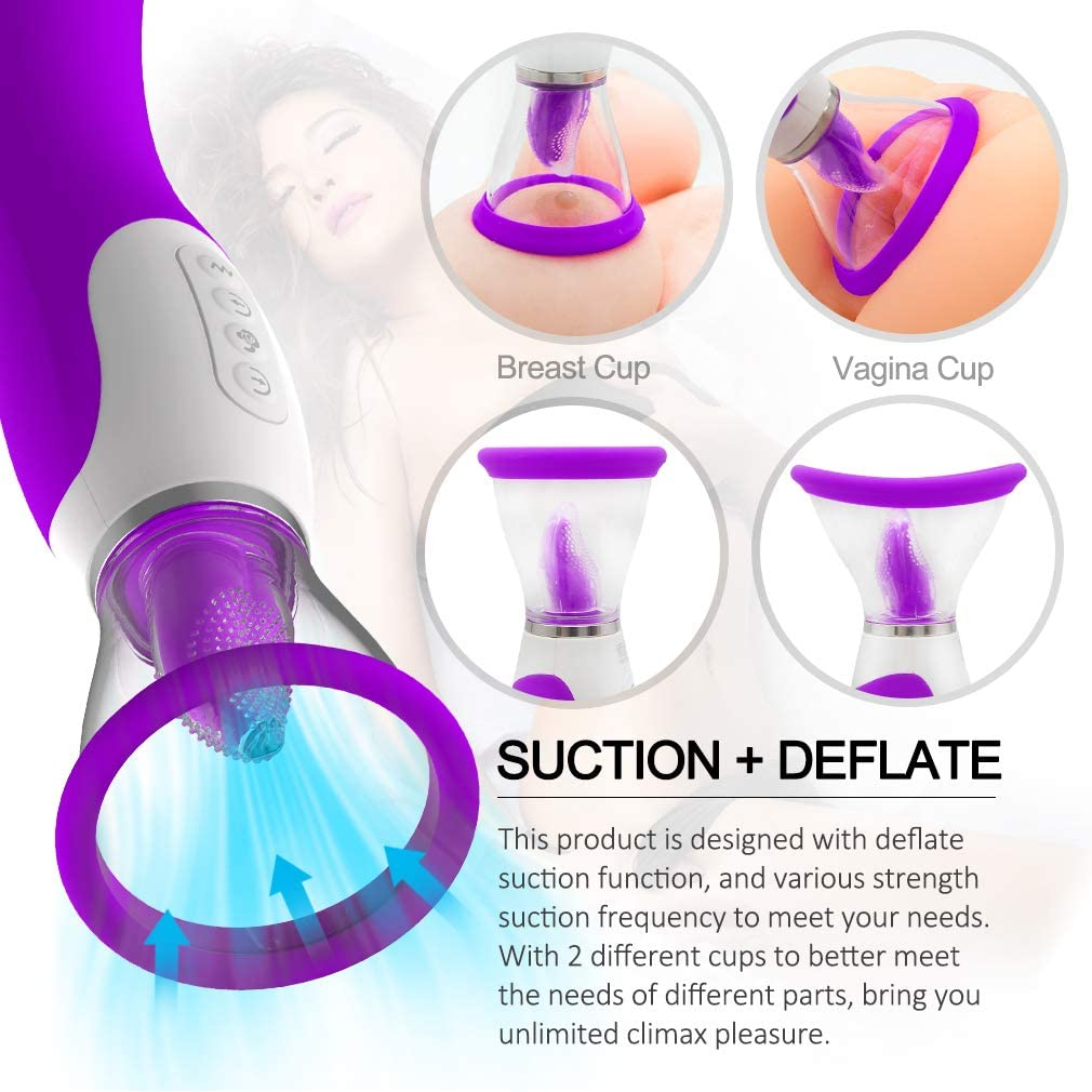 Multi Mode Intelligent Heating Powerful Tongue Suck & Vibration Nipple Sucker Adult Toys for Woman Cl?toris G%spót Su%cking Woman USB Rechargeable Waterproof Tshirt Auto Thrusting Machine for Adult Wo