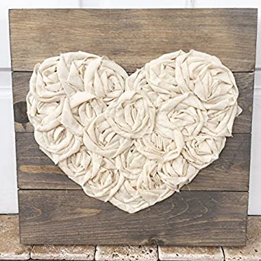 14x14 Fabric Heart Reclaimed Wood Stained Grey Sign Love Decor Wedding Gift Wall Plaque Mothersday accessories décor gift idea