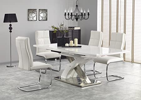 Sandor 2 160 220cm White Glass White High Gloss Modern Extendable Dining Table Amazon Co Uk Kitchen Home