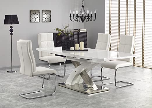 Sandor 2 - Mesa de Comedor Extensible (160 a 220 cm, Cristal ...