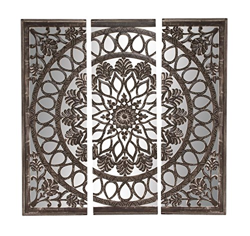 Deco 79 Wood Mirror Wall Panel,  - glass wall decor