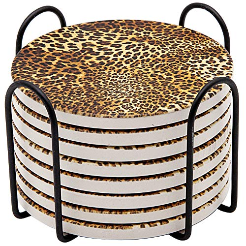 Absorbent Drink Coasters, GOH DODD 8 Pieces Ceramic Mats Table Centerpieces Home Decor with Cork Backing and Holder Stand for Home Office, Leopard Print Pattern