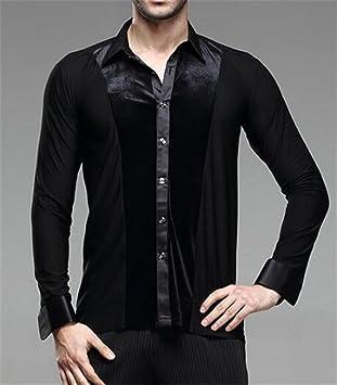 peiwen Camisetas de Danza Moderna para Hombres/Entrenamiento de Baile de salón/Camisas Negras/Concurso de Baile/Espectáculo teatral: Amazon.es: Deportes y ...