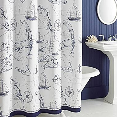 Uphome Shabby Cape Island Map Bathroom Shower Curtain - Navy and White Nautical Style Pattern Polyester Fabric Kids Decorative Curtain Ideas (72 W x 78 H)